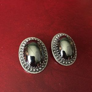 Whiting & Davis Hematite oval clip on earrings
